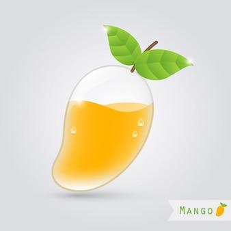 内部マンゴーとマンゴージュースガラス