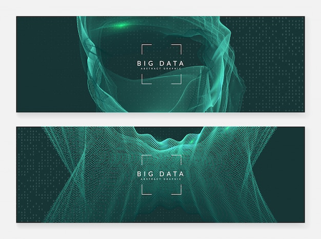 大きなデータバナーの背景。デジタル技術概要