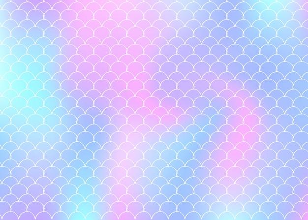 Градиентный фон с голографической русалкой.