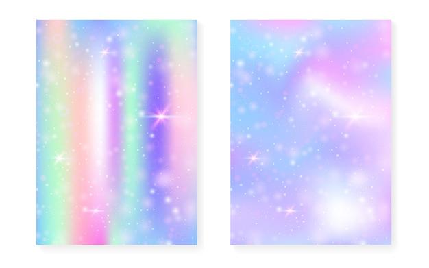 かわいい魔法のグラデーションとユニコーンの背景。プリンセスレインボーホログラム。