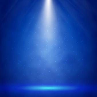 スポットライトの背景を持つブルーステージ照明