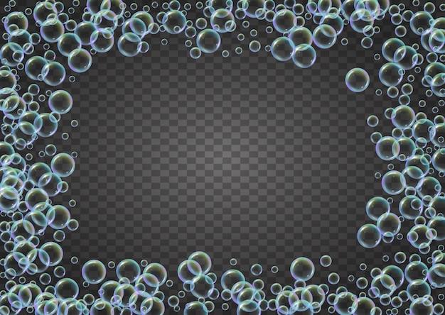 グラデーションの背景にシャンプーの泡