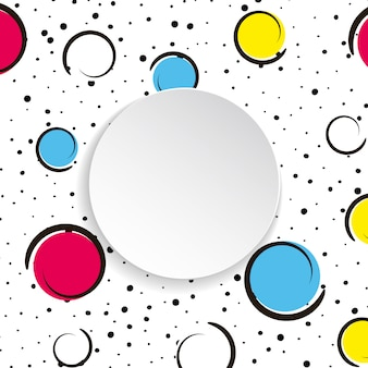 Поп-арт красочный фон конфетти. большие цветные пятна и круги