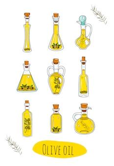 Изолированные оливковое масло в милые бутылки.