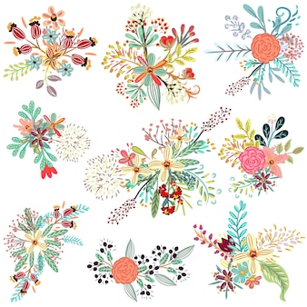 Коллекция цветочных деревенских цветов