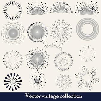 手描きサンバースト、ビンテージラジアルバースト、抽象的なラインサンシャインベクトルコレクション