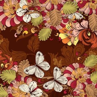 渦巻き模様の花の要素とレトロな壁紙パターン