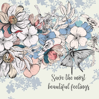 Сохраните карточку даты в винтажном стиле с розовыми цветами
