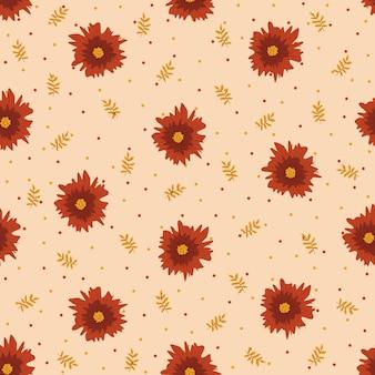 赤い花のパターン