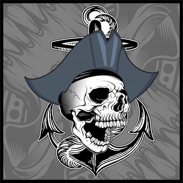 Череп пиратский ручной рисунок вектор