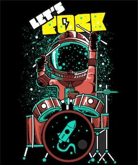 ドラマーを演奏ベクトル漫画宇宙飛行士