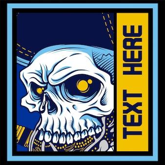頭の頭蓋骨の青い手描き