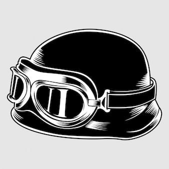 Винтажный мотоцикл классический шлем с очками. транспортная индустрия