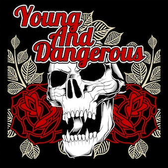 若くて危険な頭蓋骨とバラ
