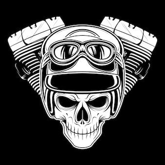 頭蓋骨レトロ、ヴィンテージ、詳細手描き