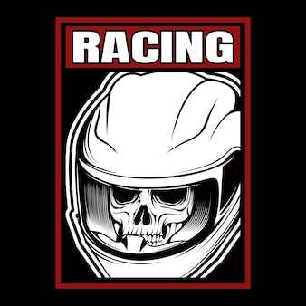 レーシングスカルヘルメット手描き