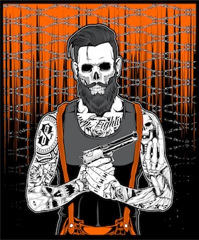 刺青のひげの男は銃を保持