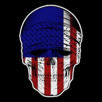 頭蓋骨バンダナに米国旗手描き