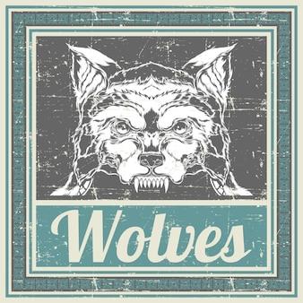 Гранж стиль волк рука рисунок вектор