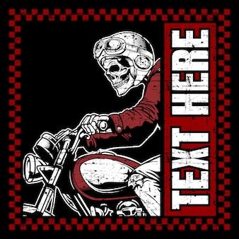 ヘルメットの手描きのベクトルを着てスカルバイク
