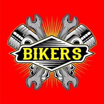 Логотип байкеров в стиле гранж с поршнем и гаечным ключом