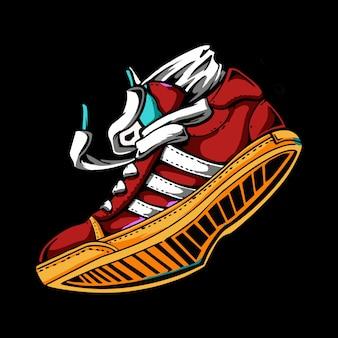 Иллюстрация кроссовки в цвете. спортивная обувь.