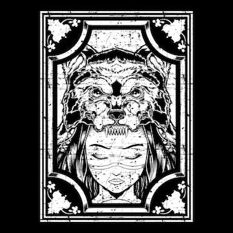 オオカミの頭飾り手描きでグランジスタイルの女の子
