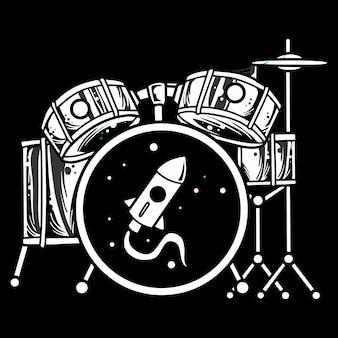 黒と白のドラムセット、