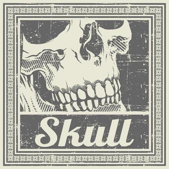 頭蓋骨レトロ、ヴィンテージ、詳細手描き、分離、