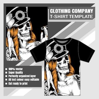 Макет одежды фирменной футболки дизайн черепа женщины курение