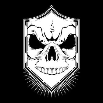 Чертеж лица черепа в винтажном стиле