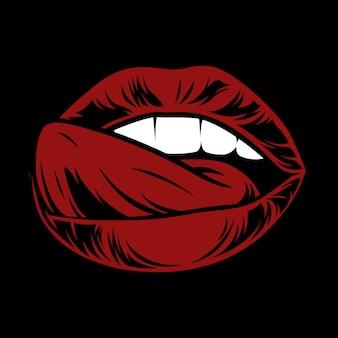 セクシーな唇。舌で口を開けてください。唾液で魅力的な女性の口。