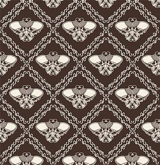 観賞用の頭蓋骨のシームレスなパターン-ベクトル