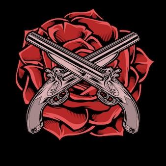 孤立した銃とバラの手描き、