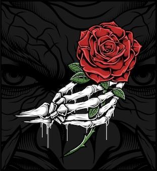 バラを持っている頭蓋骨の手