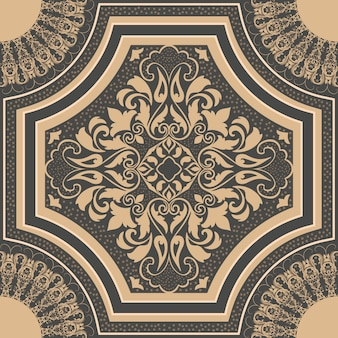 ダマスク織のシームレスなパターン要素。古典的な高級昔ながらのダマスク織飾り