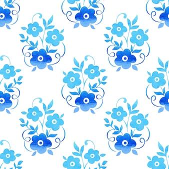 水彩花のシームレスなパターン背景。背景のエレガントな質感。