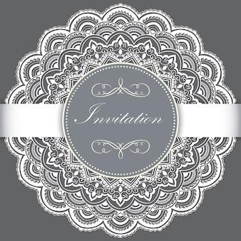 Свадебное приглашение и объявление карта с декоративным кружевом с элементами арабески.