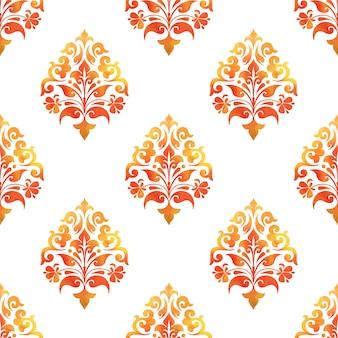 ダマスク織のシームレスなパターン背景。壁紙のためのエレガントで豪華な質感