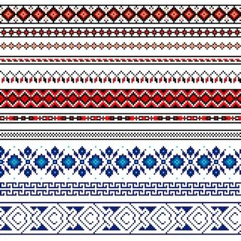 ウクライナの民俗のシームレスパターン飾りのイラスト。民族の飾り境界要素