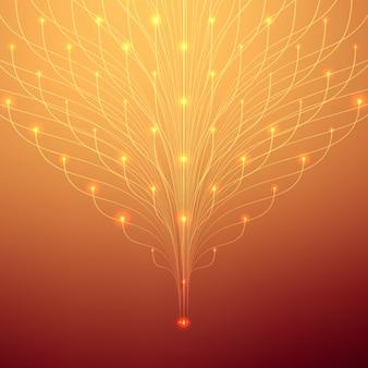 抽象的なメッシュバックグラウンド。触手の生物ルミネセンス未来的なスタイルのカード。