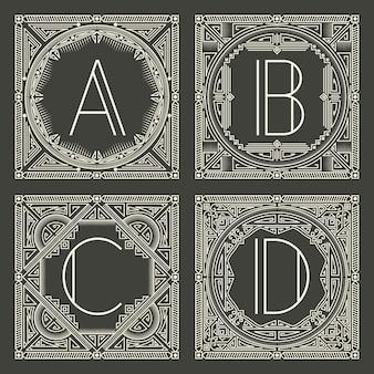 暗い灰色の背景に大文字で花と幾何学的なモノグラムのロゴのセットです。