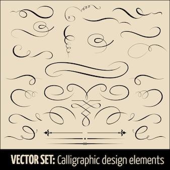 書道とページ装飾のデザイン要素のセットです。