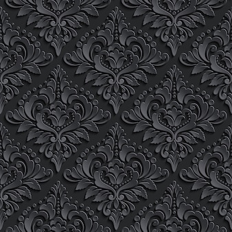 ダークダマスク織のシームレスなパターン背景。壁紙のためのエレガントで豪華な質感