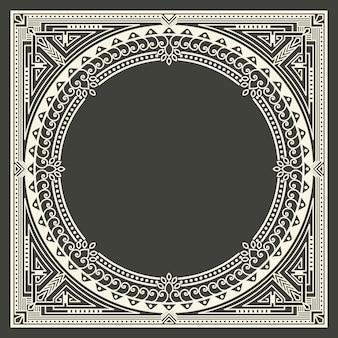 Цветочные и геометрические вензель кадр на темно-сером фоне. вензель элемент дизайна.