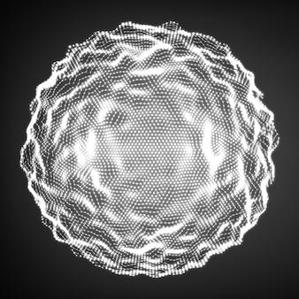抽象的な歪んだ白黒球。