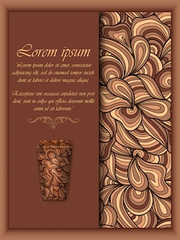 Кофейный фон с элементами цветочного узора