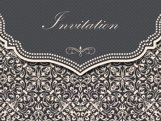 ビンテージの背景を持つ結婚式の招待状とお知らせカード