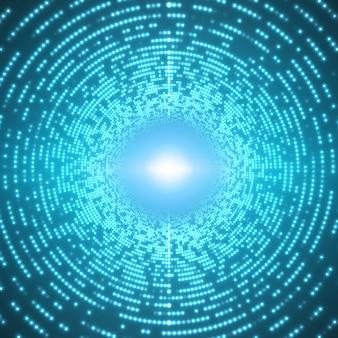 青色の背景に輝くフレアの無限ラウンドトンネル
