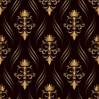 Декоративный дамасской бесшовный узор золотой